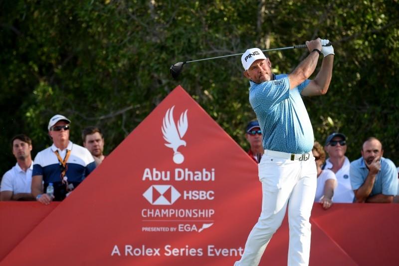 Lee Westwood of England tees off on the sixteenth during Day Three of the Abu Dhabi HSBC Championship at Abu Dhabi Golf Club on January 18, 2020 in Abu Dhabi, United Arab Emirates. — AFP