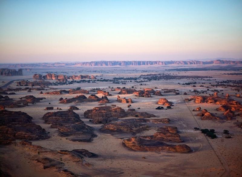 Neville Wakefield and Raneem Farsi, curators of Desert X AlUla, onsite. — courtesy RCU.