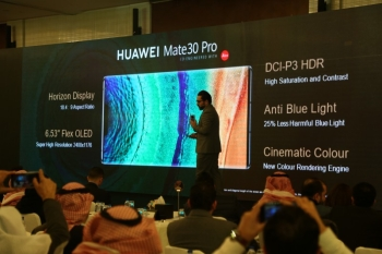 During the launch of Huawei Mate30 Pro in Riyadh