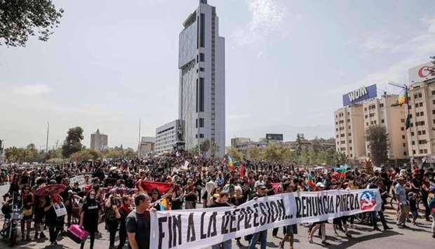 Hundreds of Chileans rallied in protest on Saturday in Santiago. -Courtesy photo