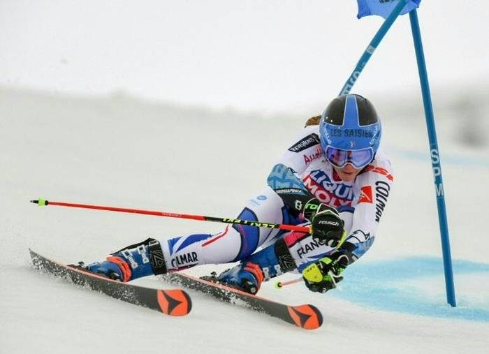 France's Clara Direz claimed a first World Cup win in the parallel giant slalom in Sestriere. — AFP