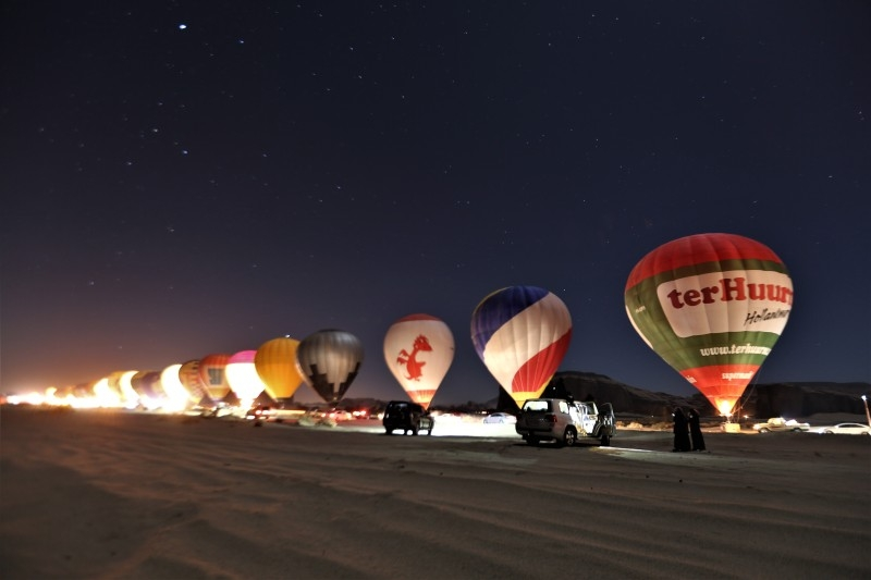 The Royal Commission for AlUla is celebrating its first Guinness World Records (GWR) title for Longest hot air balloon glow show when 100 balloons spread across 3km over the AlUla desert in north west Saudi Arabia.