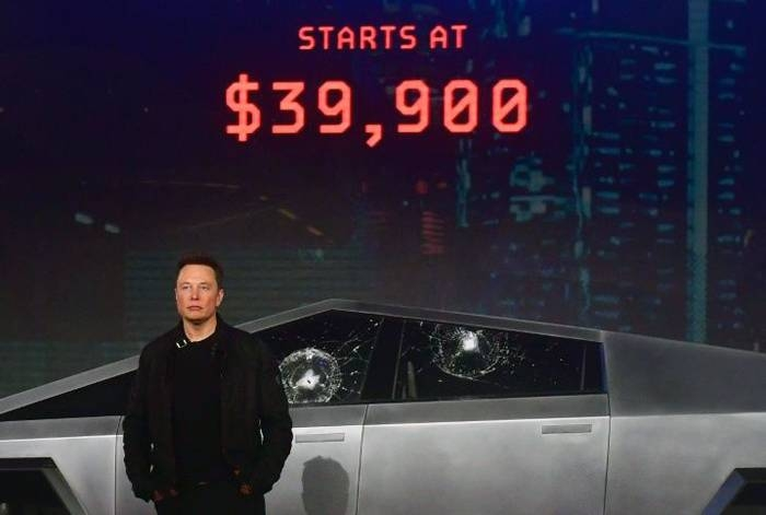 Elon Musk unveiled Tesla's all-electric battery-powered Cybertruck in November 2019. — AFP