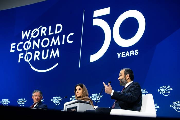 """A panel of Saudi ministers during the WEF session on """"G20 Priorities in Davos on Thursday. — Courtesy WEF"""