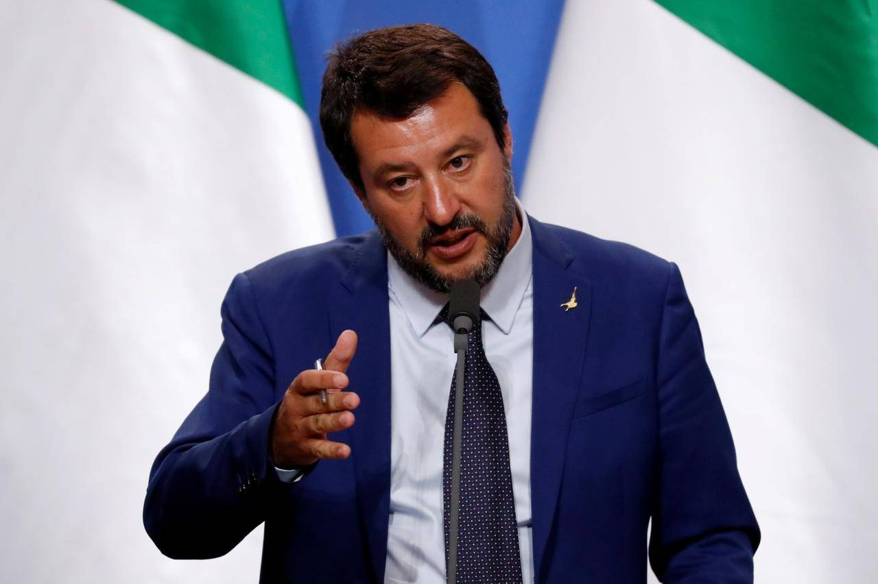 Italy's far-right politician Matteo Salvini speaks during a joint news conference with Hungarian Prime Minister Viktor Orban in Budapest, Hungary, in this May 2, 2019 file photo. — Reuters
