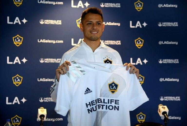 Javier Hernandez played down talk of retirement at his Los Angeles Galaxy unveiling on Thursday. — AFP