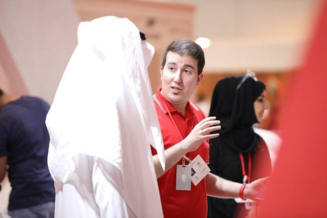 An exhibitor makes a pitch at the Index Saudi 2019.