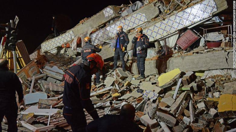 Teams conduct search operations for survivors of a collapsed building in Malatya province in Turkey on Friday evening. — Courtesy photo