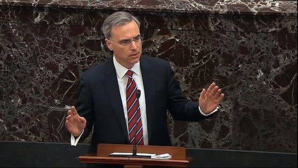 White House counsel Pat Cipollone speaks as he launches a blistering defense of US President Donald Trump during the impeachment trial at the US Senate in Washington on Saturday. — AFP