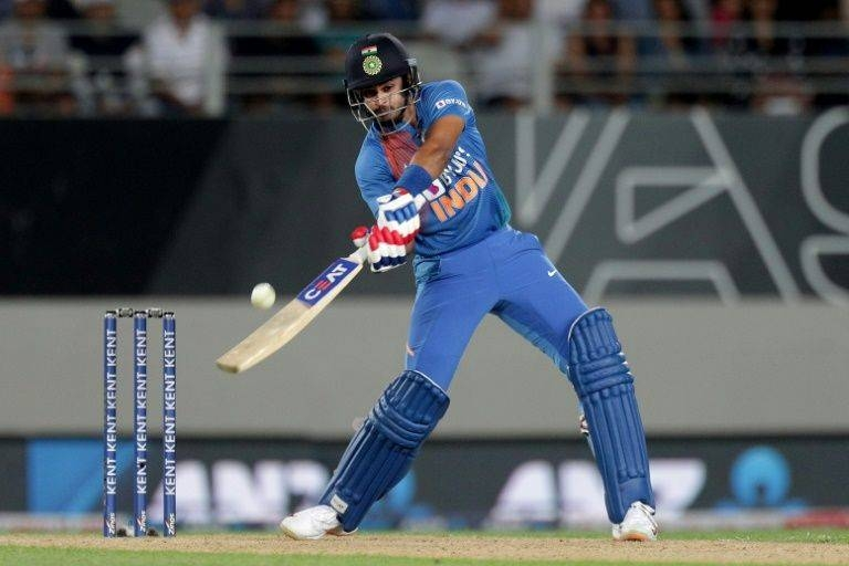 India's Shreyas Iyer on his way to scoring 44 in a winning innings against New Zealand. — AFP