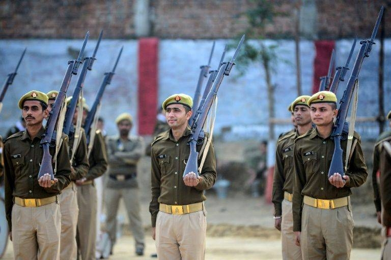 British-era bolt-action rifles were used for the last time by police in northern India during the Republic Day parade. — AFP