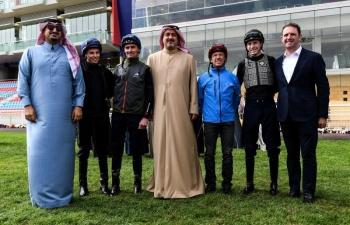 Prince Bandar Bin Khalid Al Faisal, chairman of the Jockey Club of Saudi Arabia, with jockeys ahead of the Turf Trial in Riyadh.