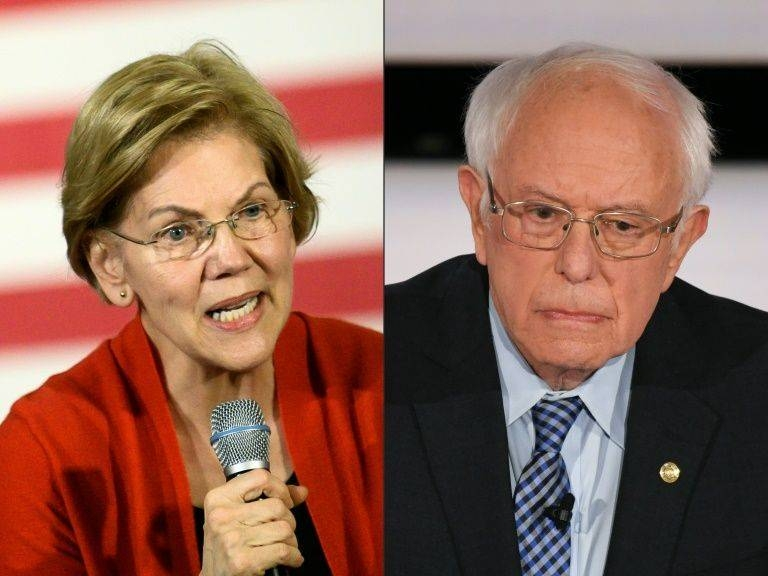 This combination of pictures created on Feb. 6, 2020 shows Democratic presidential candidate Senator Elizabeth Warren during a campaign stop in Cedar Rapids, Iowa on Jan. 26, 2020, and Democratic presidential hopeful Vermont Senator Bernie Sanders during the seventh Democratic primary debate of the 2020 presidential campaign season co-hosted by CNN and the Des Moines Register at the Drake University campus in Des Moines, Iowa on Jan. 14, 2020, — AFP