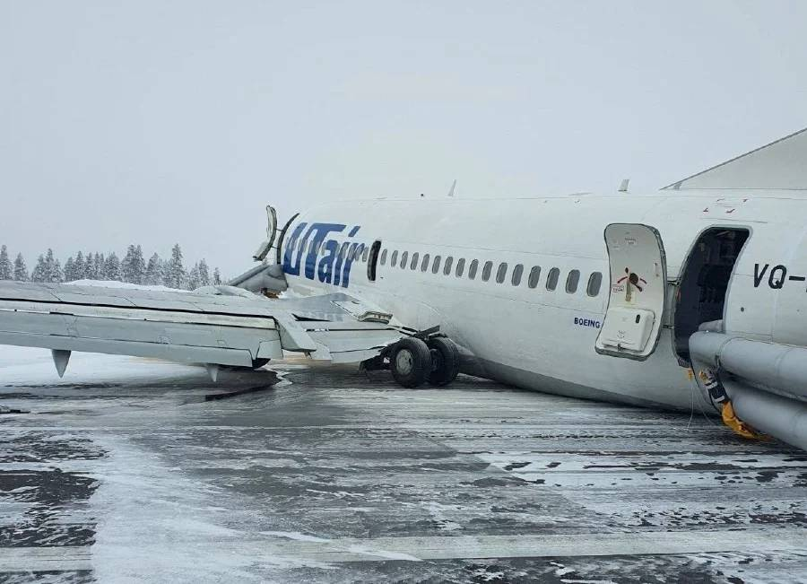 A view shows the UTair Airlines Boeing 737 passenger plane following a hard landing at Usinsk airport, Komi Republic, Russia, on Sunday. — Courtesy photo