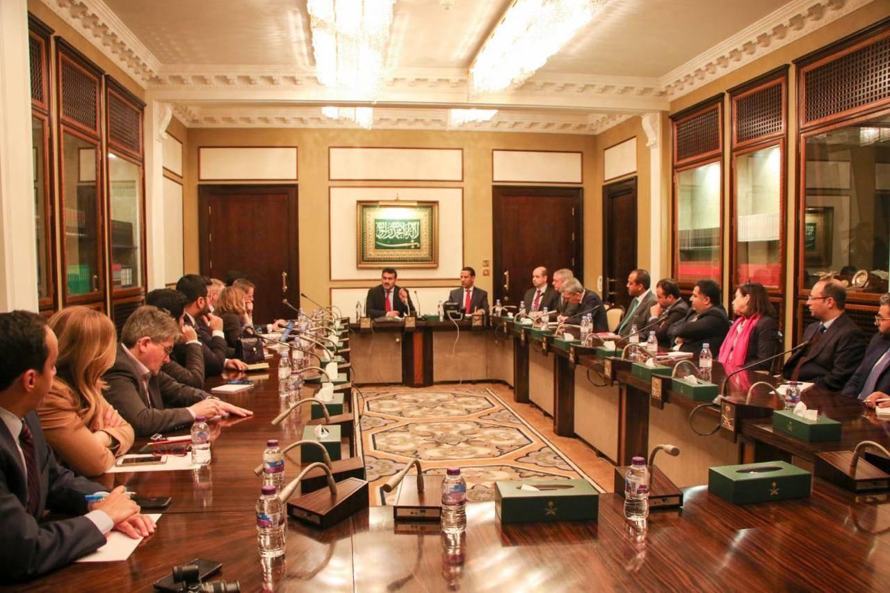 Arab Coalition spokesperson Col. Turki Al-Maliki talking to reporters in London on Wednesday.