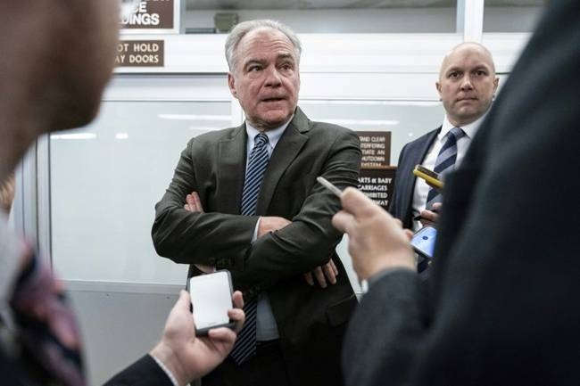 Senator Tim Kaine, seen here in January 2020, has moved to restrain President Donald Trump from war with Iran. — AFP