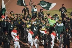 Pakistan's players celebrate after beating an Indian team in the final of the kabaddi World Cup in Lahore, Pakistan, on Sunday. — AFP