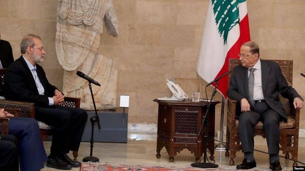 Lebanese President Michel Aoun meeting with the Iranian Parliament Speaker Ali Larijani, Monday. — Courtesy photo