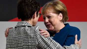 German Chancellor Angela Merkel, right, and Annegret Kramp-Karrenbauer, who was Merkel's preferred successor, are seen in this file photo. — AFP
