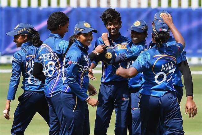 Sri Lankan players celebrate after success against England in the warm up clash.