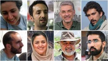 The jailed activists: (Clockwise from top left): Niloufar Bayani, Abdolreza Kouhpayeh, Houman Jokar, Amirhossein Khaleghi Hamidi, Taher Ghadirian, Morad Tahbaz, Sepideh Kashan Doust, and Sam Rajabi. — Courtesy photo