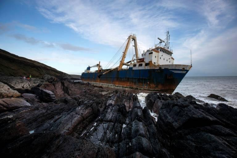 The abandoned 77-meter (250-feet) cargo ship MV Alta washed up outside Ballycotton village, Cork, Ireland. — AFP