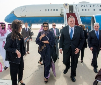 US Secretary of State Mike Pompeo was received at King Khalid airport in Riyadh by Saudi Ambassador to the US Princess Reema Bint Bandar on his arrival to Saudi Arabia on Wednesday.