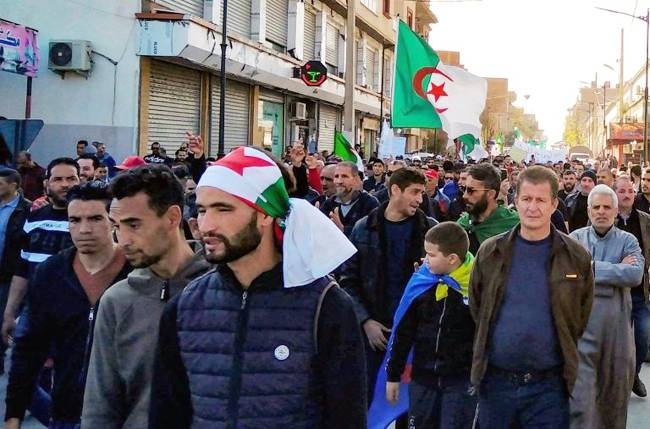 Algerians march in Bordj Bou Arreridj. Today, Algeria's protests are smaller than in spring 2019, but the Hirak movement remains strong. — AFP