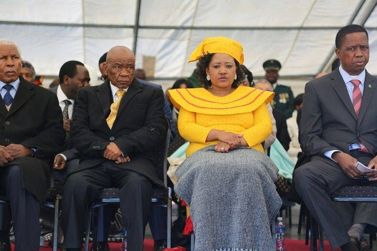 Prime Minister Thomas Thabane and Maesaiah Thabane, pictured alongside Zambian President Edgar Lungu, right, at Thabane's inauguration, two days after the murder of the premier's estranged wife. — AFP