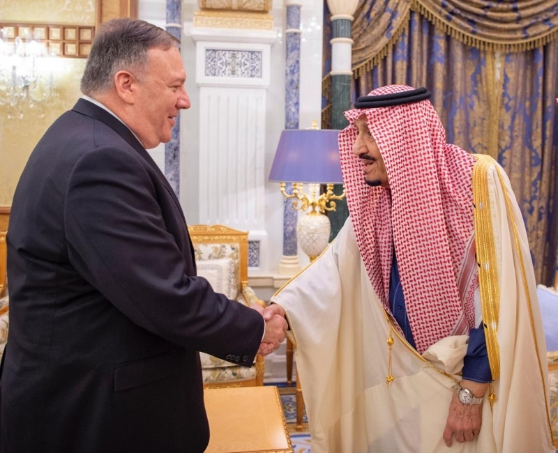 Custodian of the Two Holy Mosques King Salman met with US Secretary of State Mike Pompeo in Riyadh on Thursday.