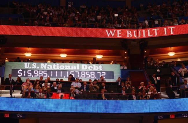 A clock counting the US national debt loomed over the Republican National Convention in 2012, but the party's interest in lowering the bill seems to have waned in the years since. — AFP