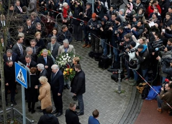 Interior Minister Horst Seehofer was among top officials who visited the scene. — AFP