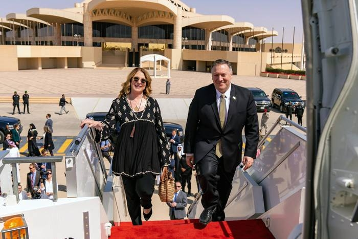 US Secretary of State Mike Pompeo, seen leaving Riyadh, concluded his three days visit to Saudi Arabia and headed to Oman in his last stop in the Middle East.