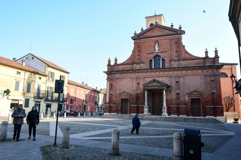 A general view of the deserted square outside San Biagio church in Codogno, southeast of Milan. after a flurry of coronavirus cases were reported in northern Italy. — AFP
