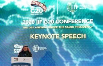 Saudi Arabian Monetary Authority (SAMA) Governor Ahmed Al-Kholifey addresses the G20 meeting in Riyadh, Saturday. — Courtesy photo