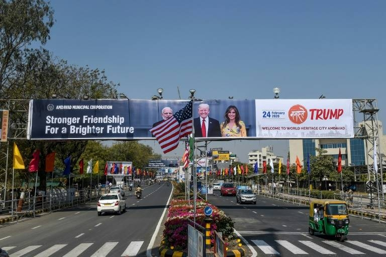 Scores of banners and hoardings with pictures of Donald Trump and Indian Prime Minister Narendra Modi have been put up across Ahmedabad in western India. — AFP