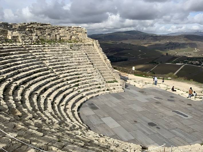 A Roman theater in the archeological area of Segesta.