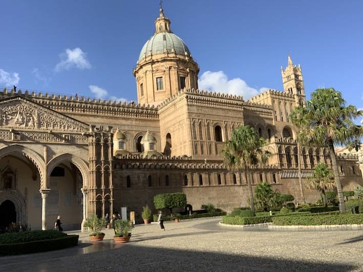 : Arab & Norman architecture visible in the exterior design of the cathedral of Palermo.