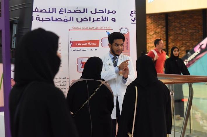 The Saudi Neurology Society (SNC) has succeeded in utilizing commercial malls against migraine disease, to raise society members' awareness and understanding of the disease.