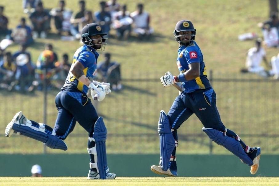 Sri Lanka's Kusal Mendis (left) and Avishka Fernando put on 239 runs against the West Indies at the Sooriyawewa Mahinda Rajapaksa Stadium in Hambantota. — AFP