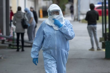 A health worker is seen outside a clinic in Zagreb, Croatia, on Tuesday.  — Courtesy photo