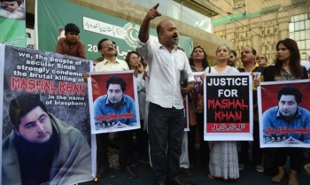 Pakistani demonstrators take part in a protest the killing of journalism student Mashal Khan in Karachi in this April 22, 2017 file photo. — AFP
