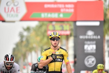 Dutchman Dylan Groenewegen won the fourth stage of the UAE Tour on Wednesday in Dubai in a sprint.