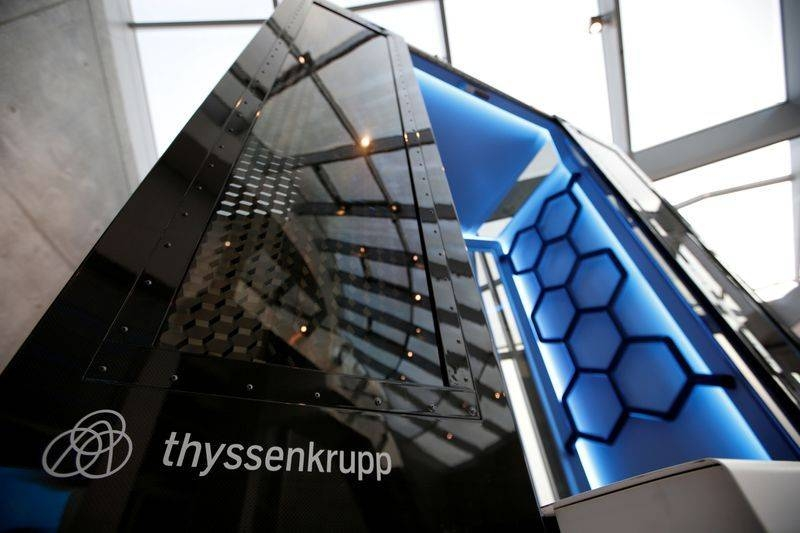Model of Thyssenkrupp's MULTI elevator is pictured inside the company's elevator test tower in Rottweil, Germany, in this file picture. — Courtesy photo