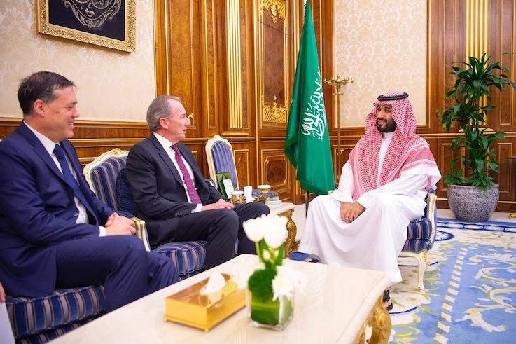 Crown Prince Muhammad Bin Salman, deputy premier and minister of defense, holds talks with James Gorman, chairman and CEO of Morgan Stanley Bank, in Riyadh on Tuesday. — SPA
