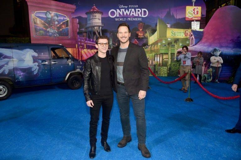 Tom Holland, left, and Chris Pratt attend the world premiere of Pixar/Disney animated film
