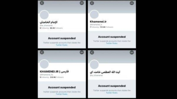 Twitter on Tuesday suspended the English, Arabic, Persian and Urdu accounts of Iranian Supreme Leader Ali Khamenei, and shortly after re-activated the accounts but with zero followers. -- Courtesy photo