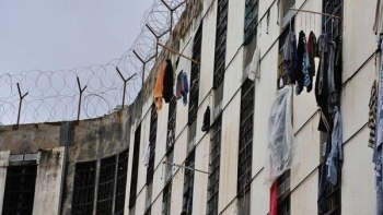 Inmates at Lebanon's Roumieh prison hang their laundry from cell windows. -- Courtesy photo