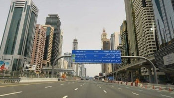 The empty Sheikh Zayed Street in Dubai is pictured on March 27 amid the COVID-19 coronavirus pandemic. -- File photo