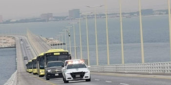 The first batch of 196 Saudis who were stranded in Bahrain arrived via the King Fahd Causeway to the Kingdom on Tuesday.